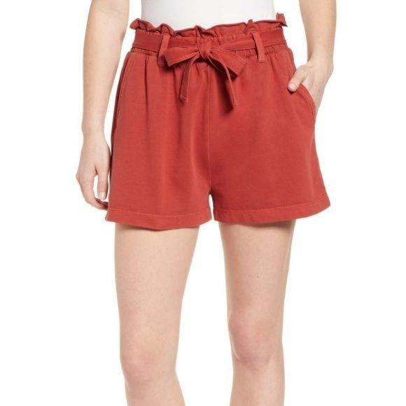 BP Rust Cinnabar Paperbag High Waist Shorts NWT